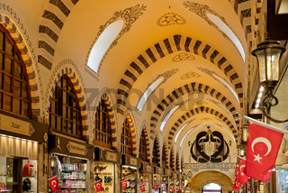 ISTANBUL, TURKEY - MAY 25 : Ornate ceiling of the Spice Bazaar in Istanbul Turkey on May 25, 2018