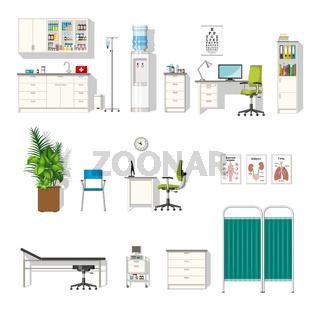 Set of various medical furniture
