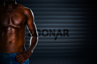 Composite image of close-up mid section of a shirtless muscular man