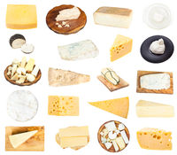 collage from various pieces of cheeses isolated