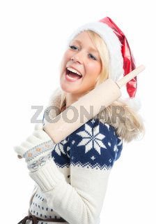 weihnachtsfrau mit nudelholz
