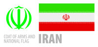 Vector set of the coat of arms and national flag of Iran