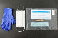 test tube, medical report, gloves and mask