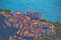 Old Monaco town on the rock colorful panoramic view from above