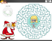 maze educational game with Santa Claus with Christmas gift