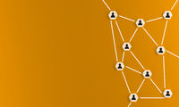 Abstract teamwork, network and community concept on an orange background
