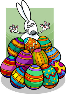 easter bunny and eggs cartoon illustration