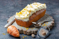 Carrot cake with cottage cheese cream.