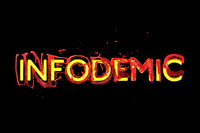 Infodemia lettering concept about pandemia and false information with coronavirus covid-19. 3d illustration isolated on black background