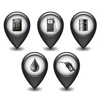 Set of Black Glossy Style Map Pointers With oil industry icons.