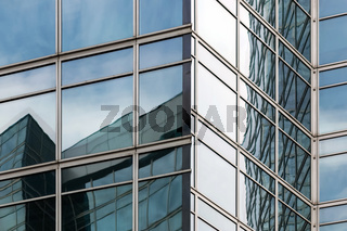 corner of glass business center building, urban architecture background