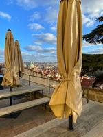 View from garden next to Schwarzenberg Palace., Prague, Czech Republic.