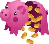 Broken piggy bank with coins. Ceramic pig vector