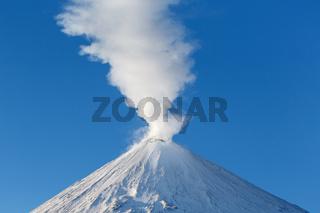 Kamchatka Peninsula: winter view of summit of eruption Klyuchevskoy Volcano