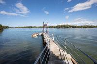 Panama  pier for mooring boats on Boca Brava island