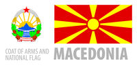 Vector set of the coat of arms and national flag of Macedonia