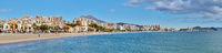 Panoramic view sandy coastline of Villajoyosa. Spain
