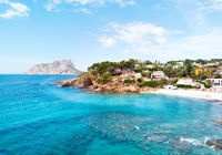 Turquoise bay of Mediterranean Sea of Benissa spanish resort town. Province of Alicante, Costa Blanca, Spain