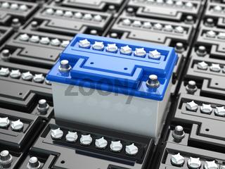 Car batteries background. Blue accumulators.