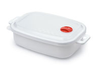 White plastic  reusable food storage container