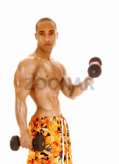 A shirtless man working out whit two dumbbells