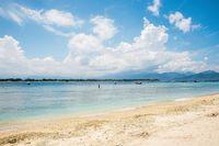 Beautiful view of sandy beach, sea and sky