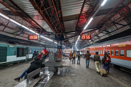 Old delhi station platforms at night