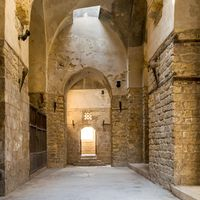 Arched passage in old stone building