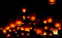 Illuminated sky at Pingxi lantern festival, Taiwan