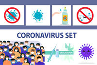 Coronavirus infographics set, icons flat style. COVID-19 hand disinfector hand treatment, stop virus sign, masked people, vaccination. Vector illustration