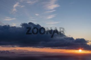 Sonnenuntergang, Barentssee, Norwegen
