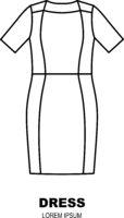 Midlde dress icon, clothing shop line logo. Fashion template.