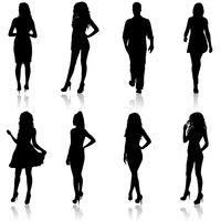 Silhouette Group of People Standing on White Background