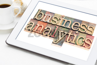 business analytics typography on tablet