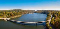 Aerial panorama of fall colors on Cheat Lake Morgantown, WV with bridge