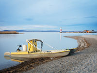 Boat and lighthouse at podesdorf at neusiedlersee in Burgenland