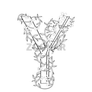 Letter Y floral sketch