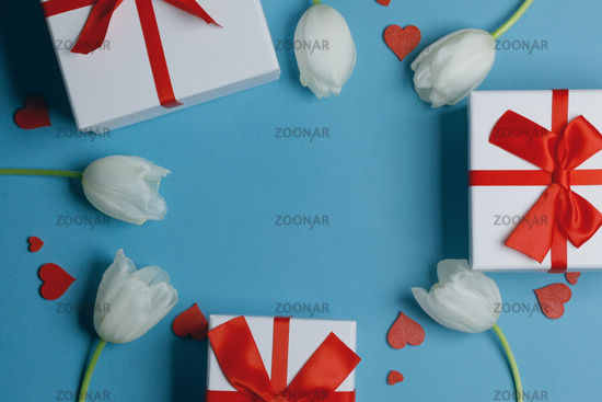 White tulips hearts gifts card
