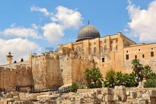 Al-Aqsa dome and old ruins in Jerusalem, Israel.