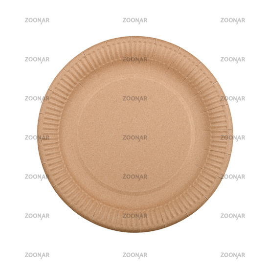 Disposable brown paper plate isolated on white