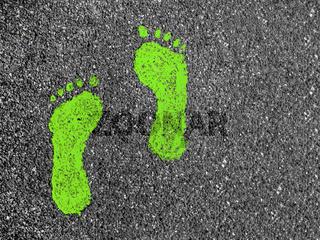 Green footprints on asphalt