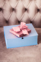 Vintage luxury holiday blush pink gift box with silk ribbon and bow, christmas or valentines day decor