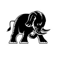 Angry Elephant Charging Attacking Side View Mascot Woodcut Black and White