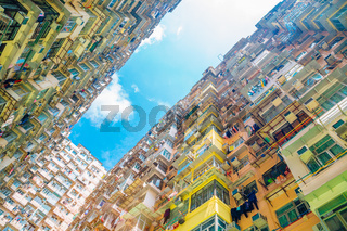 Old residential building under blue sky at Quarry Bay, Hong Kong
