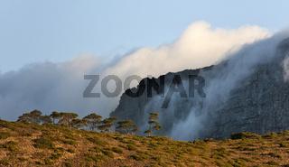Detail des nebelverhangenen Tafelbergs in Kapstadt, Südafrika
