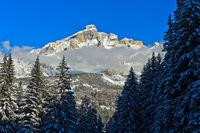 Piz Lavarela im Winter, Alta Badia, Dolomiten, Südtirol, Italien
