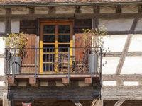 Antiker Balkon, Fachwerkhaus