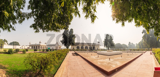 Red Fort of Delhi, inner buildings panorama, India