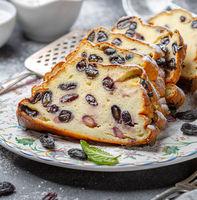 Homemade cottage cheese casserole with raisins.