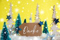 Christmas Trees, Snowflakes, Yellow Background, Label, Danke Means Thank You